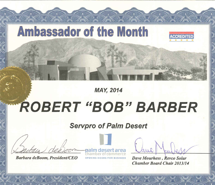 Community Palm Desert Chamber of Commerce Ambassador of the Month May 2014 - Robert Barber